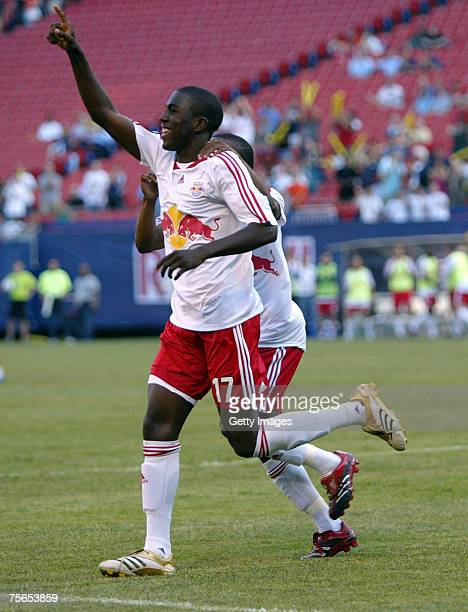 Jozy Altidore of the New York Red Bulls celebrates his goal in the first half against the Chicago Fire at Giants Stadium in the Meadowlands on May...