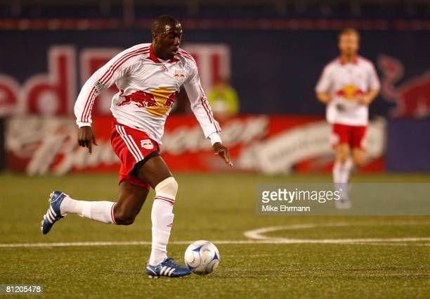 Jozy Altidore of the New York Red Bulls plays the ball forward against the New England Revolution at Giants Stadium in the Meadowlands on April 19,...