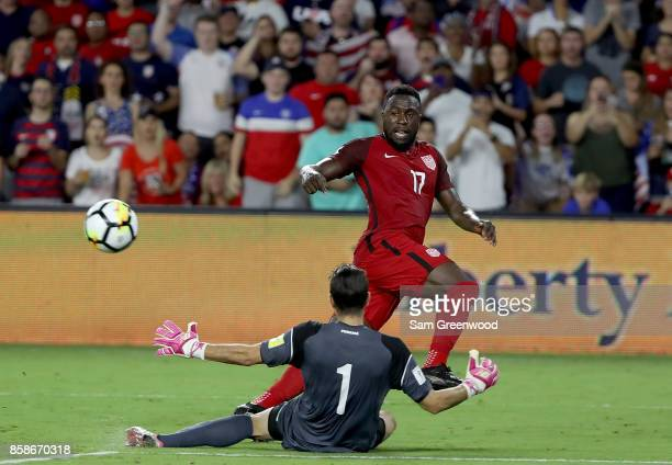 Jozy Altidore of the United States attempts a shot during the final round qualifying match against Panama for the 2018 FIFA World Cup at Orlando City...