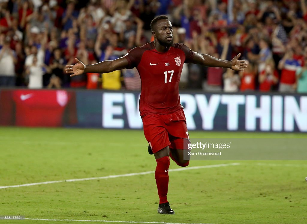 Jozy Altidore #17 of the United States celebrates a goal during the final round qualifying match against Panama for the 2018 FIFA World Cup at Orlando City Stadium on October 6, 2017 in Orlando, Florida.