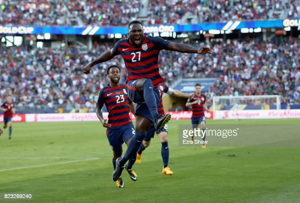 Jozy Altidore of the United States celebrates after scoring a goal against the Jamaica during the 2017 CONCACAF Gold Cup Final at Levi's Stadium on...