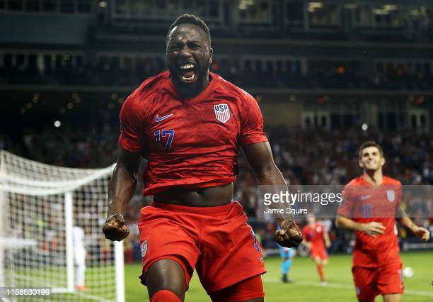 Jozy Altidore of the United States celebrates after scoring during the second half of the CONCACAF Gold Cup match against Panama at Children's Mercy...