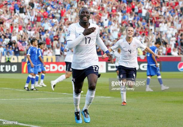 Jozy Altidore of the United States celebrates scoring a goal in the first half during the FIFA 2010 World Cup Qualifier match between the United...
