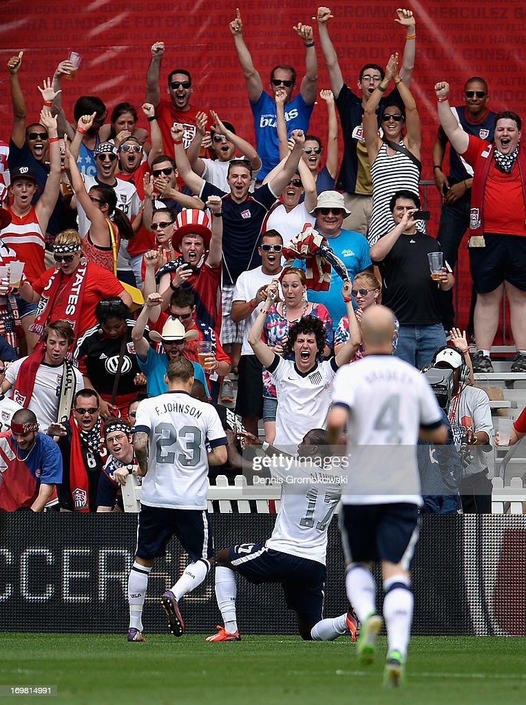 Jozy Altidore of the United States celebrates scoring his side's opening goal in front of their fans during the International Friendly match between Germany and the United States at the RFK Stadium on June 2, 2013 in Washington, DC.