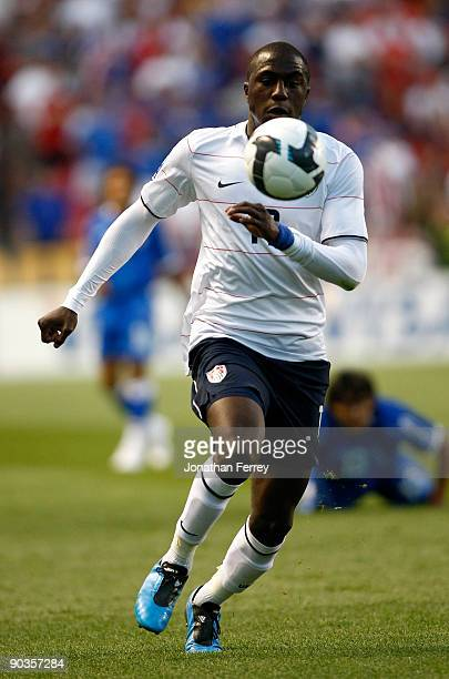 Jozy Altidore of the United States dribbles the ball during the FIFA 2010 World Cup Qualifier match between the United States and El Salvador at Rio...