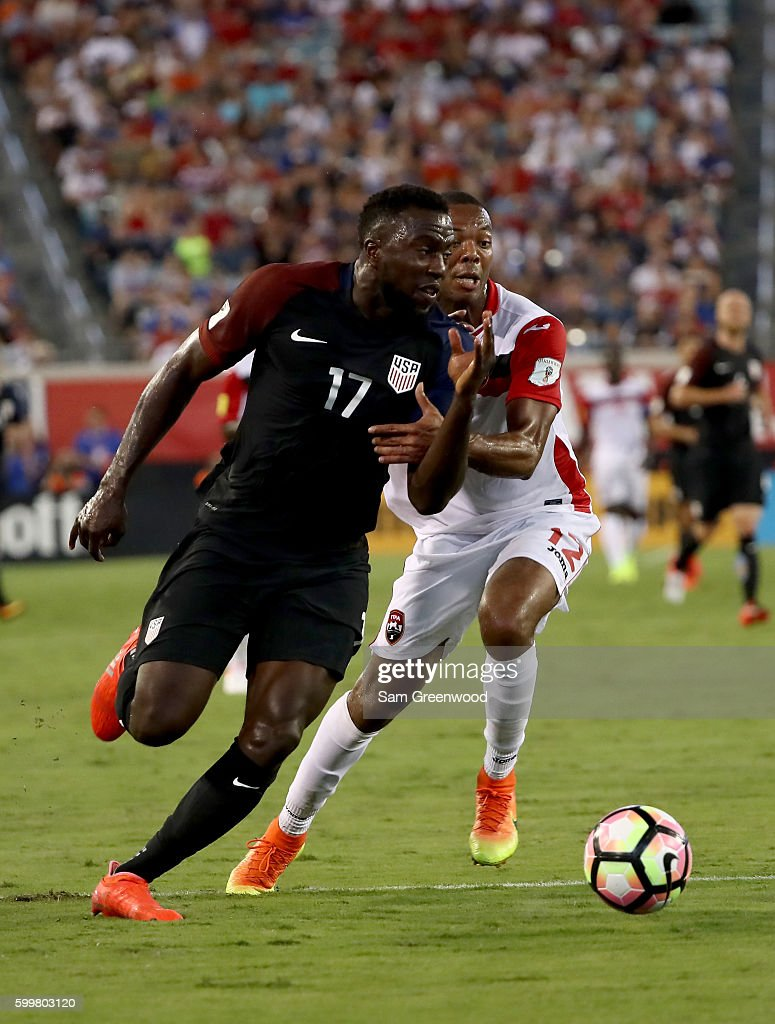 Jozy Altidore #17 of the United States drives past Carlyle Mitchell #12 of Trinidad & Tobago during the FIFA 2018 World Cup Qualifier at EverBank Field on September 6, 2016 in Jacksonville, Florida.
