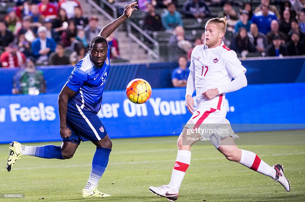 Jozy Altidore #17 of the United States heads the ball towards goal during the International Soccer Friendly match between the United States and Canada at the StubHub Center on February 5, 2016 in Carson, California. The United States won the match 1-0