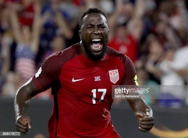Jozy Altidore of the United States reacts to a goal during the final round qualifying match against Panama for the 2018 FIFA World Cup at Orlando...