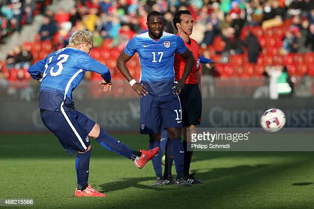 Jozy Altidore of the USA watches on as Brek Shea scores USÕs opening goal during the international friendly match between Switzerland and the United...