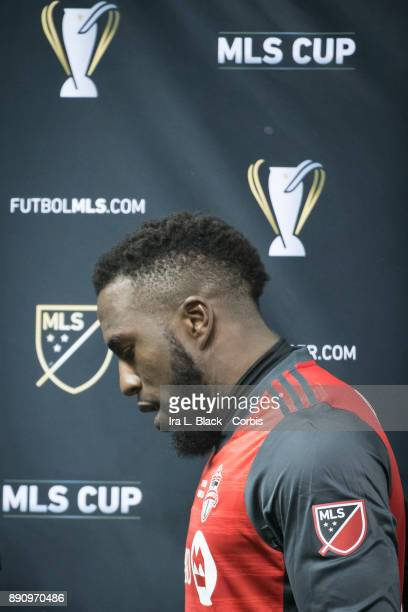 Jozy Altidore of Toronto FC accepts the most valuable player of the match trophy after the 2017 Audi MLS Championship Cup match between Toronto FC...