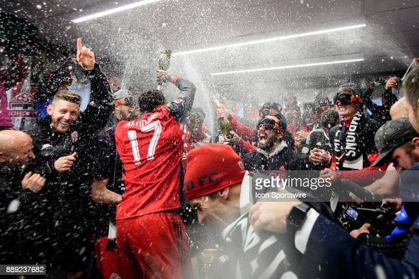 Jozy Altidore of Toronto FC and his team mates spray champagne and celebrate after the 2017 MLS Cup Final between Toronto FC and Seattle Sounders FC...