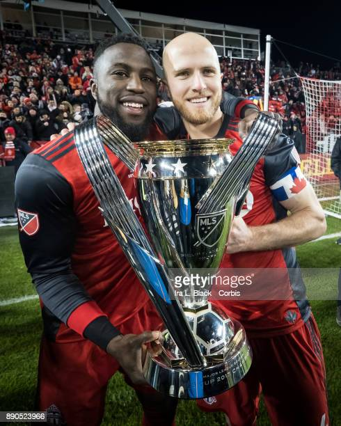 Jozy Altidore of Toronto FC and Michael Bradley of Toronto FC holding the MLS Championship Cup after the 2017 Audi MLS Championship Cup match between...