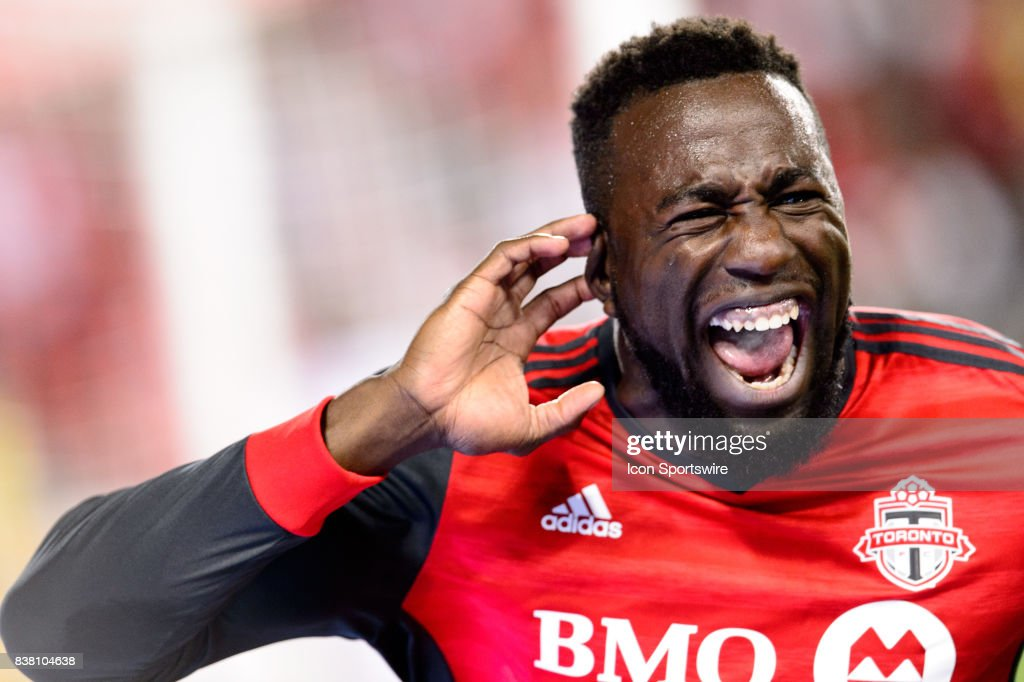 Jozy Altidore (17) of Toronto FC celebrates after scoring during the second half of the MLS Soccer regular season game between Toronto FC and Philadelphia Union on August 23, 2017, at BMO Field in Toronto, ON, Canada.