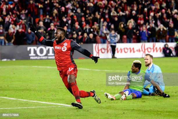 Jozy Altidore of Toronto FC celebrates after scoring the winning goal during the second half of the 2017 MLS Cup Final between Toronto FC and Seattle...