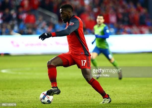 Jozy Altidore of Toronto FC dribbles the ball during the 2017 MLS Cup Final against the Seattle Sounders at BMO Field on December 9 2017 in Toronto...