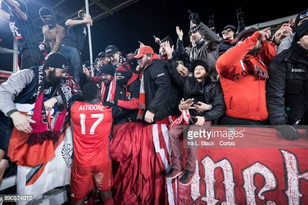 Jozy Altidore of Toronto FC gets greeted by the fans after the 2017 Audi MLS Championship Cup match between Toronto FC and Seattle Sounders FC at BMO...