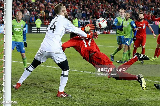 Jozy Altidore of Toronto FC heads the ball but Stefan Frei of Seattle Sounders makes the save of the MLS Cup Final on December 10 at BMO Field in...