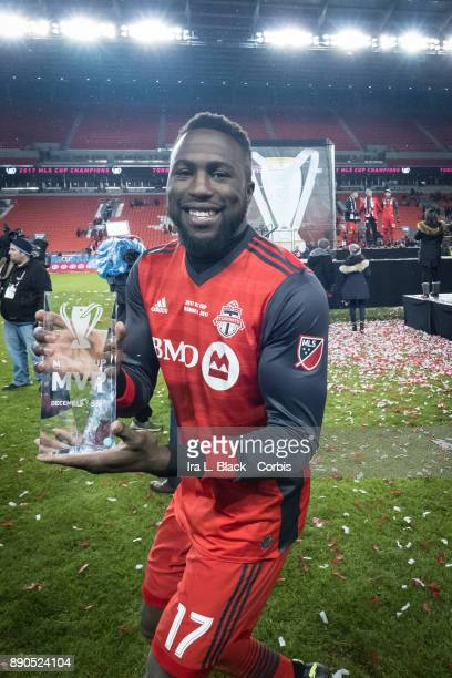 Jozy Altidore of Toronto FC holds up the MVP Man of the Match award after the 2017 Audi MLS Championship Cup match between Toronto FC and Seattle...