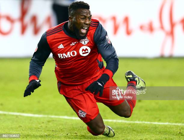 Jozy Altidore of Toronto FC is fouled during the 2017 MLS Cup Final against the Seattle Sounders at BMO Field on December 9 2017 in Toronto Ontario...