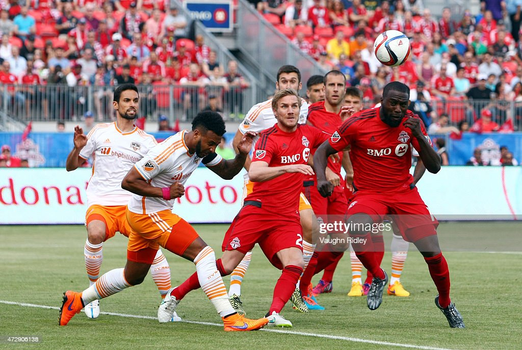 Jozy Altidore #17 of Toronto FC sends a header wide during an MLS soccer game between the Houston Dynamo and Toronto FC at BMO Field on May 10, 2015 in Toronto, Ontario, Canada.
