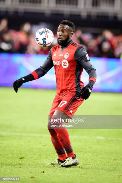 Jozy Altidore of Toronto FC stops the ball during the 2017 MLS Cup Final between Toronto FC and Seattle Sounders FC on December 9 at BMO Field in...