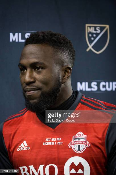 Jozy Altidore of Toronto FC talks with reporter after receiving the Most Valuable Player award of the 2017 Audi MLS Championship Cup match between...
