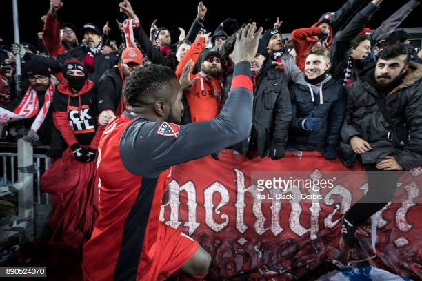 Jozy Altidore of Toronto FC waves to fans after the 2017 Audi MLS Championship Cup match between Toronto FC and Seattle Sounders FC at BMO Field on...