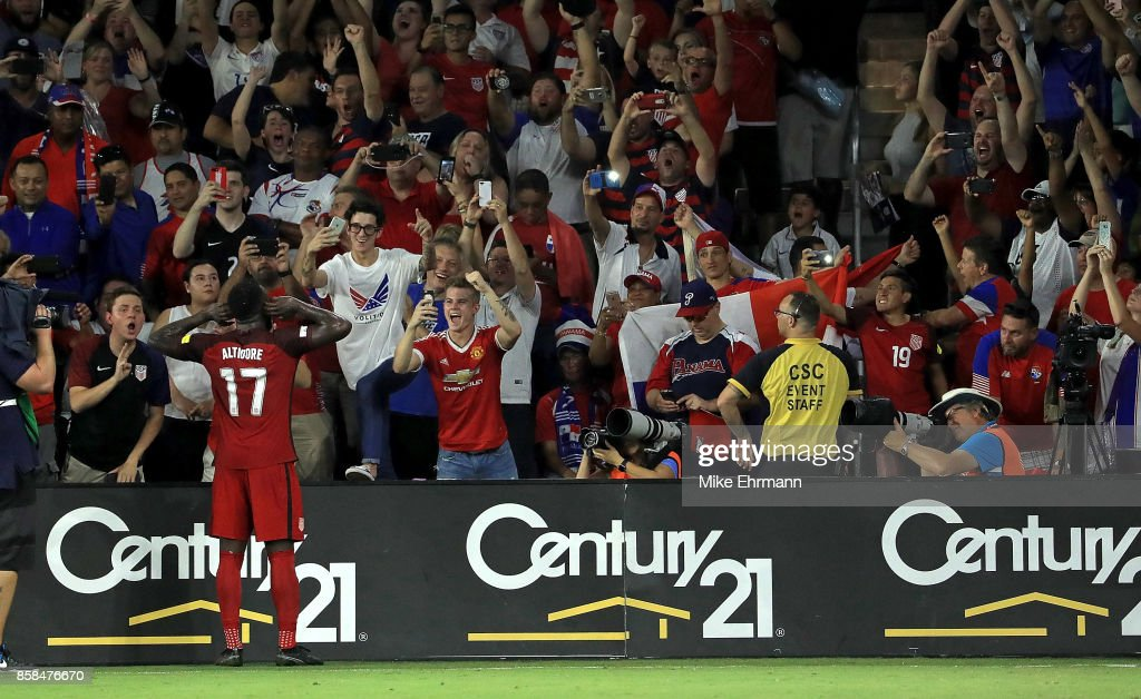 Jozy Altidore #17 of United States celebrates a goal during the 2018 FIFA World Cup Qualifying match against Panama at Orlando City Stadium on October 6, 2017 in Orlando, Florida.