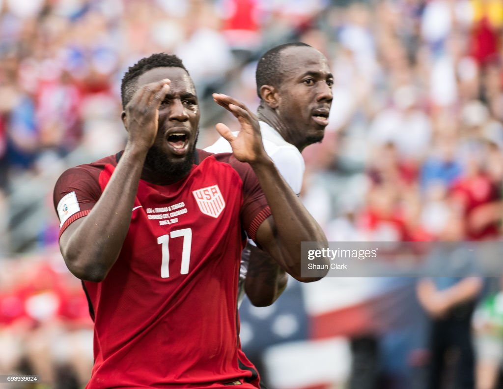 Jozy Altidore #17 of United States reacts to not scoring on a header during the World Cup Qualifier match between the United States and Trinidad & Tobago at Dick's Sporting Goods Park on June 8, 2017 in Commerce City, Colorado. The United States won the match 2-0