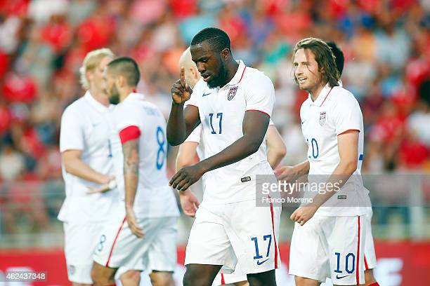 Jozy Altidore of USA celebrates after scoring the second goal of his team during an international friendly match between Chile and USA at El Teniente...
