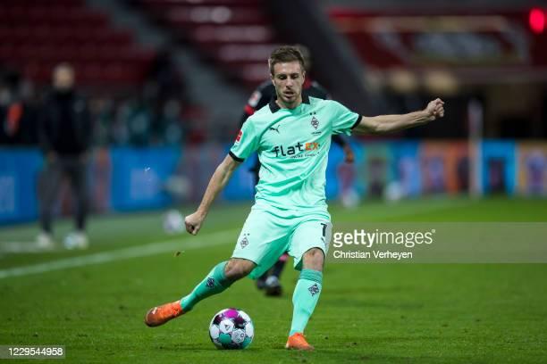 JPatrick Herrmann of Borussia Moenchengladbach in action during the Bundesliga match between Bayer 04 Leverkusen and Borussia Moenchengladbach at...