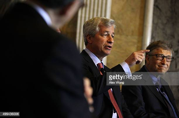 JPMorgan Chase Chairman and CEO Jamie Dimon and Bill Gates cochairman of the Bill Melinda Gates Foundation participate in a panel discussion during...