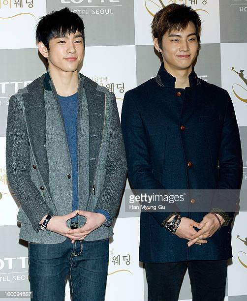 Jr. And JB of South Korean boy band JJ Project attend the wedding of Sun of Wonder Girls at Lotte Hotel on January 26, 2013 in Seoul, South Korea.