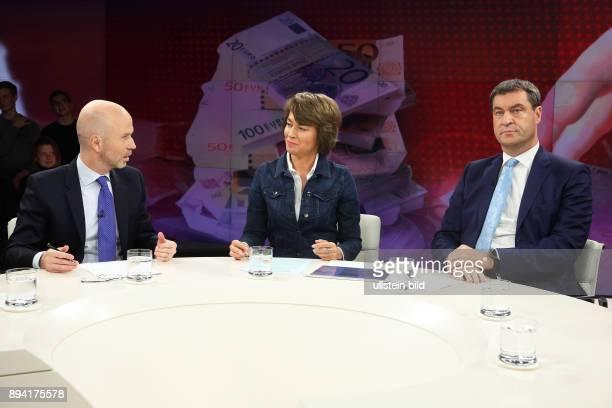 Jörg Eigendorf Maybrit Illner und Markus Söder in der ZDFTalkshow maybrit illner am in Berlin Gier statt Reue Kommt die BankenKrise zurück