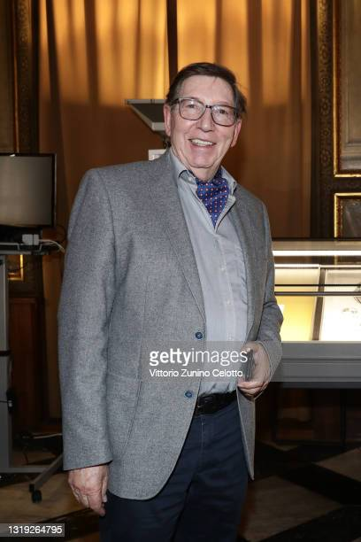 """Jürgen A. Messmer attends the exhibition opening """"Leonismo"""" by artist Leon Loewentraut on May 21, 2021 in Venice, Italy. In the library, directly on..."""