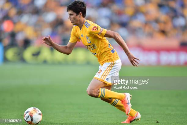 Jürgen Damm, #25 of Tigres, drives the ball during the 15th round match between Tigres UANL and Morelia as part of the Torneo Clausura 2019 Liga MX...