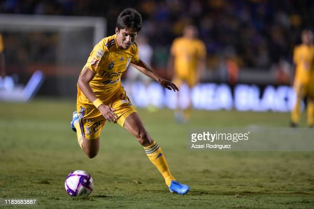 Jürgen Damm, #25 of Tigres, drives the ball during the 15th round match between Tigres UANL and Cruz Azul as part of the Torneo Apertura 2019 Liga MX...