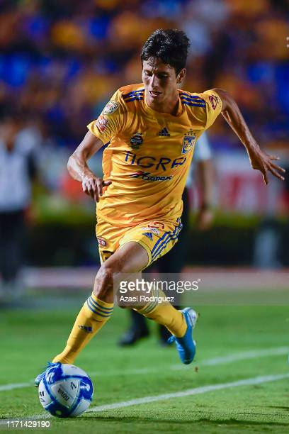 Jürgen Damm, #25 of Tigres, drives the ball during the 8th round match between Tigres UANL and Leon as part of the Torneo Apertura 2019 Liga MX at...