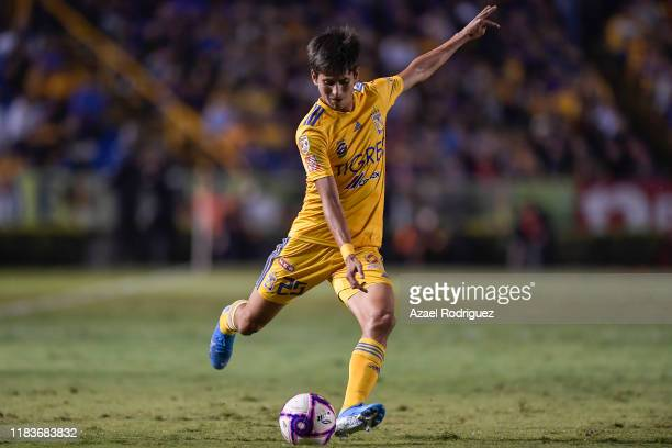 Jürgen Damm, #25 of Tigres, kicks the ball during the 15th round match between Tigres UANL and Cruz Azul as part of the Torneo Apertura 2019 Liga MX...