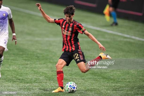 Jürgen Damm of Atlanta United attempts to kick the ball during a game against the Orlando City at Mercedes-Benz Stadium on October 7, 2020 in...