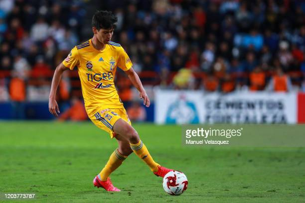 Jürgen Damm of Tigres controls the ball during the 4th round match between Pachuca and Tigres UANL as part of the Torneo Clausura 2020 Liga MX at...