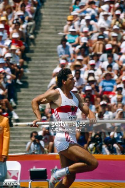 Jürgen Hingsen Men's decathlon pole vault competition Memorial Coliseum at the 1984 Summer Olympics August 8 1984