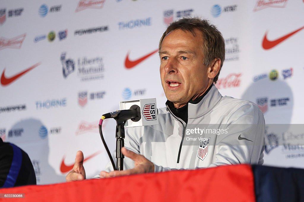 Jürgen Klinsmann coach of USA talks during a press conference at MAPFRE Stadium on November 10, 2016 in Columbus, United States.