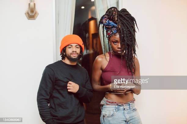Jrias Law and Lyric Michelle attend The One And Only, Dick Gregory, Album Release Event on September 16, 2021 in Burbank, California.