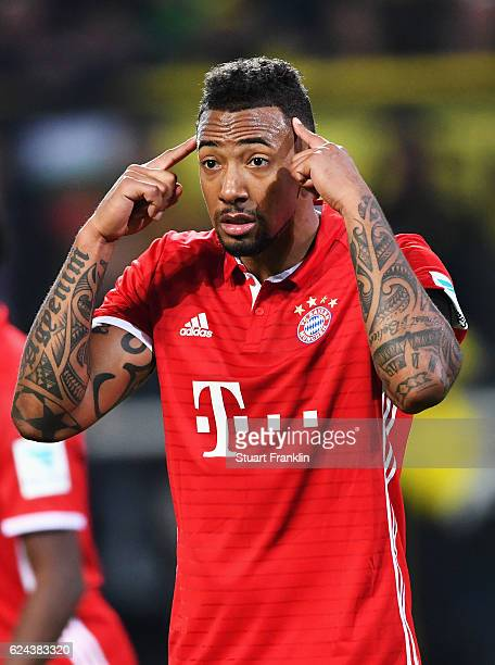 Jerome Boateng Of Muenchen Gestures During The Bundesliga Match Between Borussia Dortmund And Bayern Muenchen At