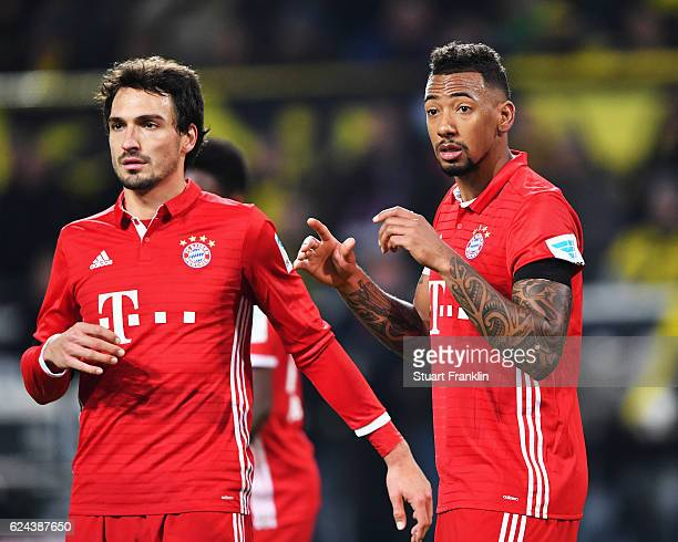 Jérôme Boateng of Muenchen gestures during the Bundesliga match between Borussia Dortmund and Bayern Muenchen at Signal Iduna Park on November 19...