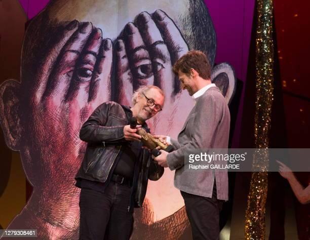 Jérôme Thomas et Pierre Guillois lors de la remise des Topor d'Or 2018, événement conçu et réalisé par Jean Michel Ribes, prix de l'inattendu du...