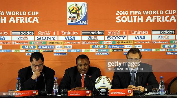 Jérôme Valcke FIFA Secretary General flanked by Irvin Khoza Chairman of the 2010 FIFA World Cup local Organising Committee and Danny Jordaan CEO of...