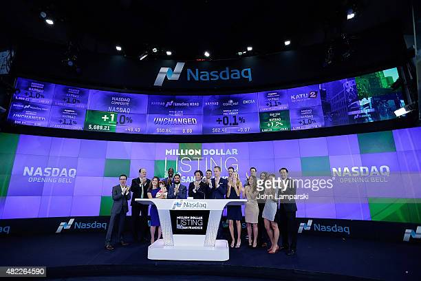JRoh Habibi Justin Fichelson Andrew Greenwell and guests ring the Nasdaq Stock Market opening bell celebrating the Million Dollar Listing San...