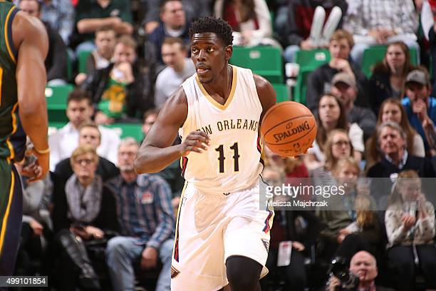Jrue Holiday of the New Orleans Pelicans brings the ball up court against the Utah Jazz on November 28 2015 at Vivint Smart Home Arena in Salt Lake...